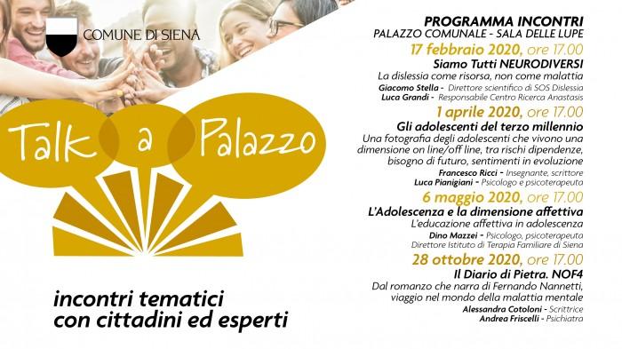 Programma incontri Talk A Palazzo 2020